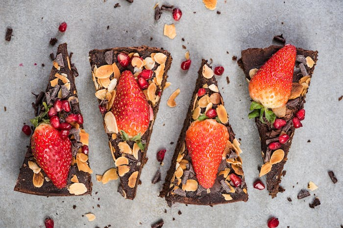 Triangle slices of healthy chocolate brownie