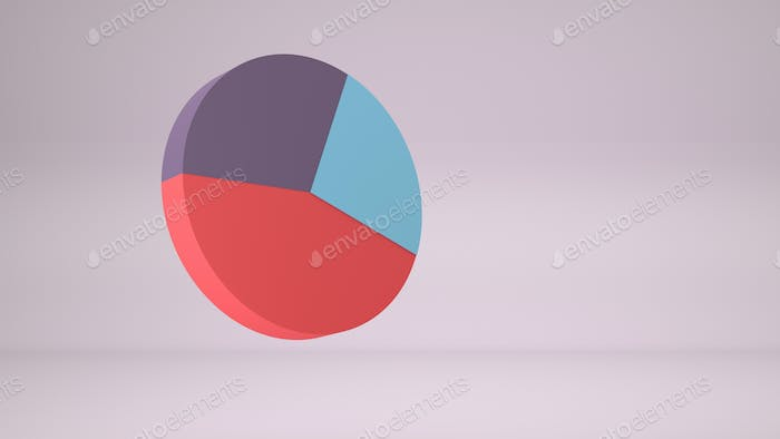 3D render of colorful business diagram on pink background