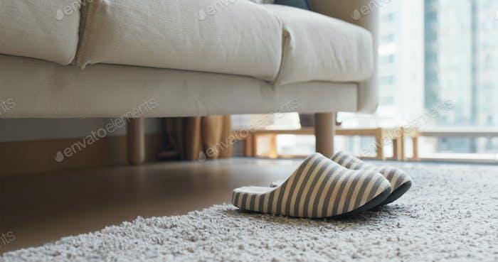 Soft slipper on the carpet