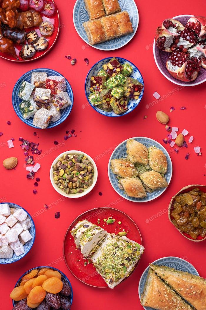 Baklava, halva, rahat lokum, sherbet, nuts, pistachios, dates, raisins, dried apricots, churchkhela