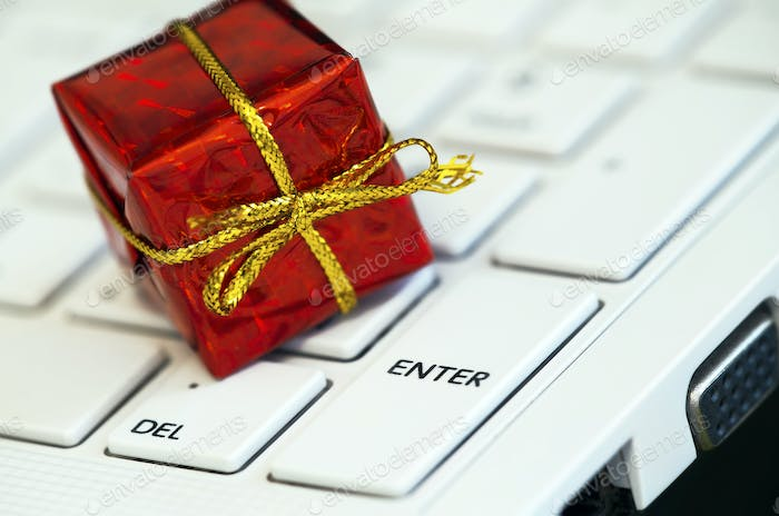 Red gift-box on a keyboard