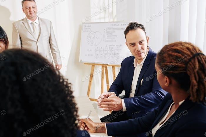 Businessman sharing creative ideas