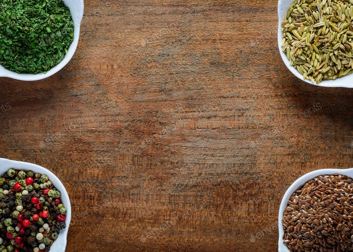 Parsley, Cumin, Peppercorn and flaxseed Frame