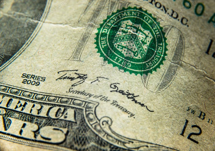 US-Dollar-Rechnung, Super-Makro, Nahaufnahme Foto