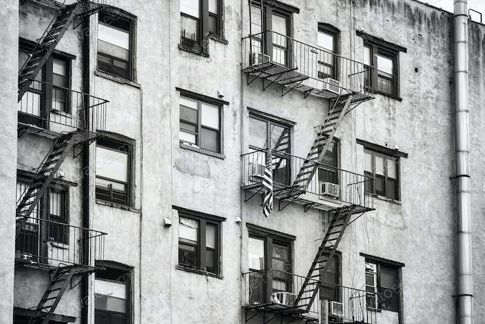 Old building with fire escapes in New York City.