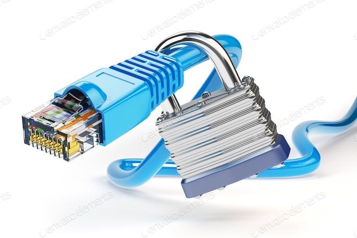 Netzwerk-Ethernet-Kabel gesperrt mit Vorhängeschloss isoliert auf weißem Bac