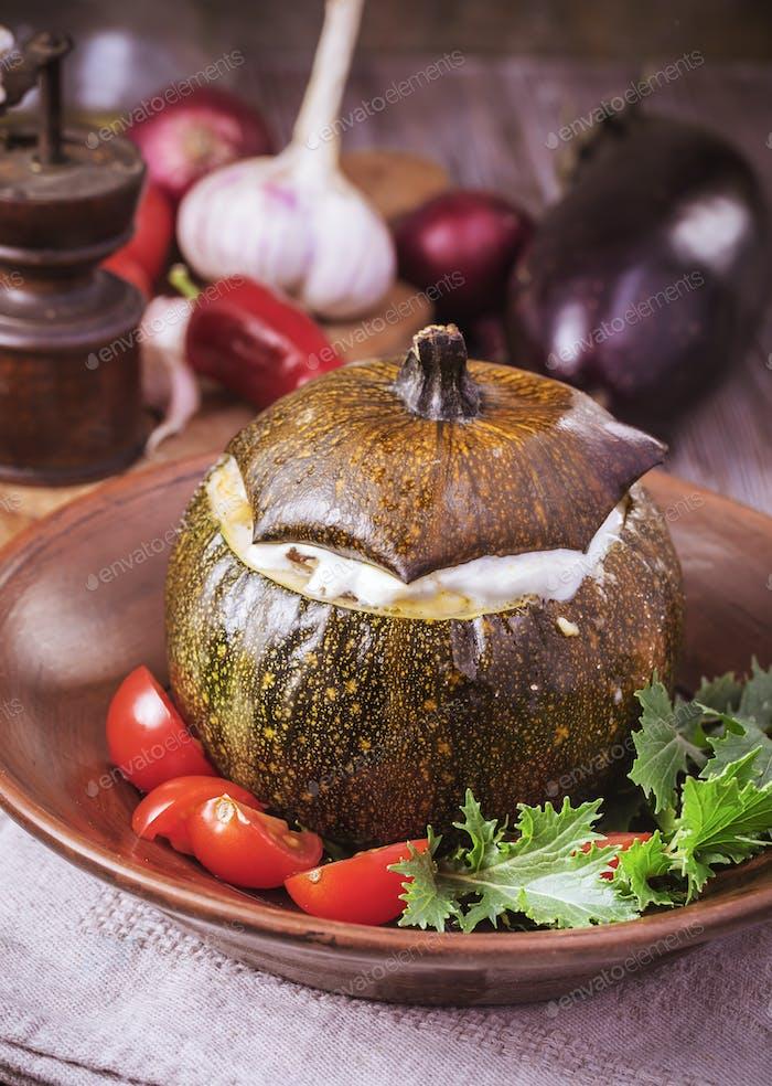 Baked veggie round squash
