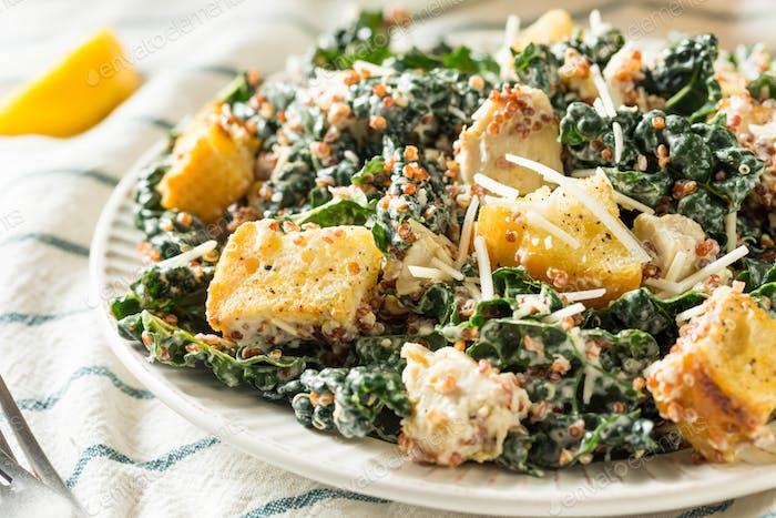 Homemade Kale Quinoa Caesar Salad