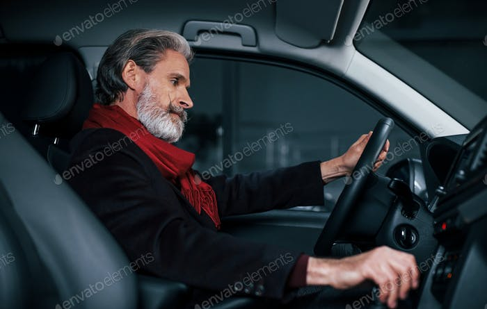 Side view of modern stylish senior man with grey hair that is in the modern car