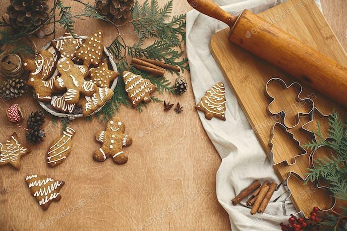 Christmas gingerbread cookies on vintage plate