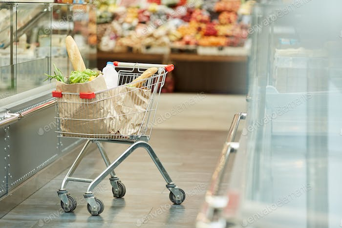 Shopping Cart in Supermarket Interior