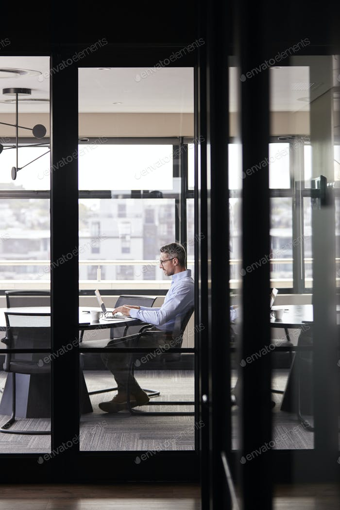 Middle aged white businessman working alone in a meeting room, seen through glass wall, vertical