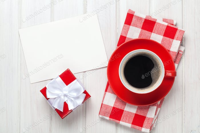 Valentines day greeting card, gift box and coffee cup