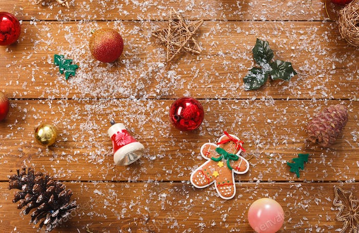 Christmas tree decorations, prepare for winter holidays background