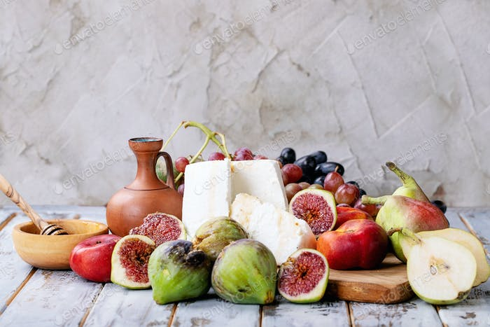 Home made ricotta cheese served with fresh fruits