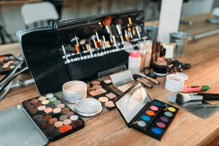 Professional makeup artist cosmetics tools closeup
