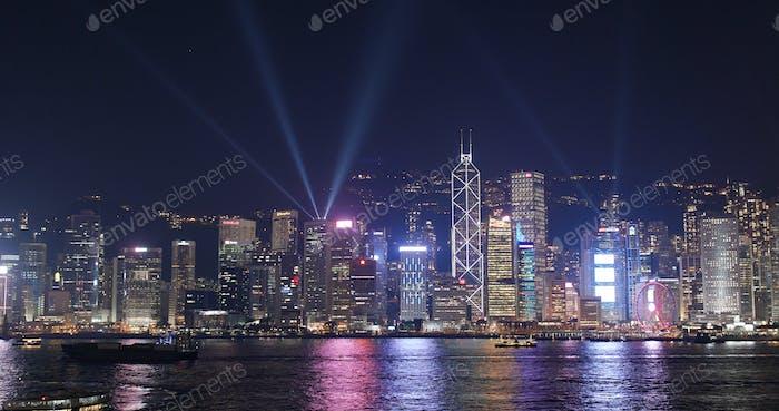 Victoria Harbour, Hong Kong, 10 March 2018:- Hong Kong cityscape at night