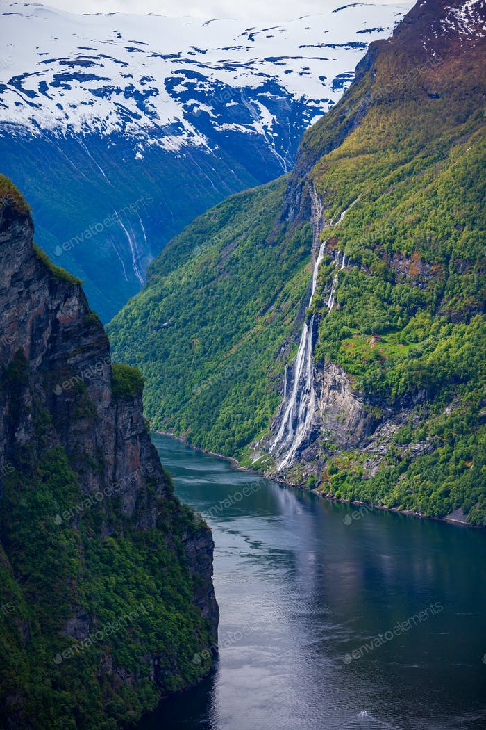 Geiranger fjord, Norway waterfall Seven Sisters