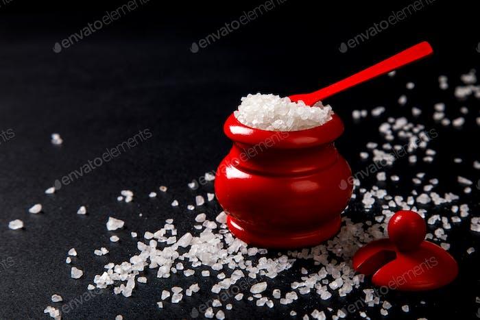 Sea Salt in Wooden red salt Shaker with Spoon