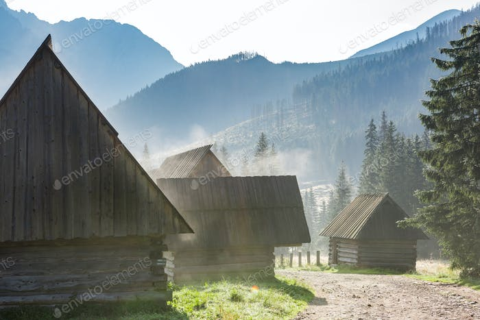 Traditioal Shepherds Hut in Chocholowska Valley at Misty Morning