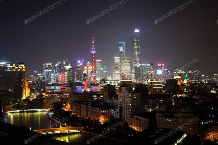 Shanghai city aerial sunset cityscape at night China