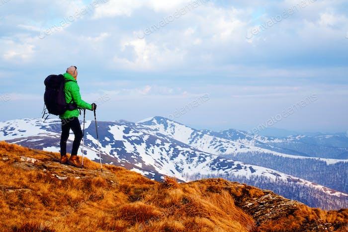Hiker with black backpack