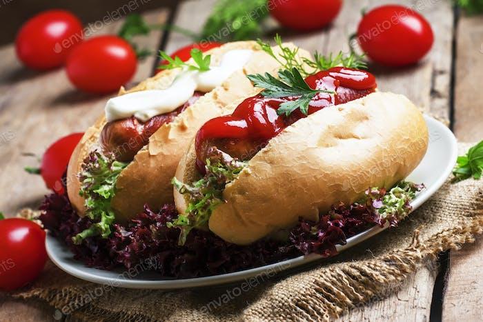 Hot dog with ketchup and mayonnaise