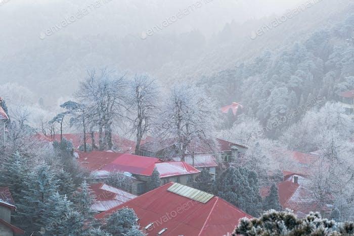 beautiful mount lushan in winter