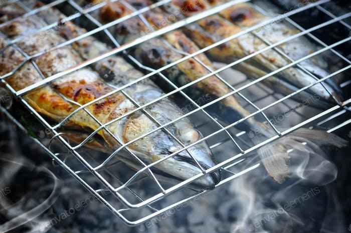 Gegrillte Makrele auf dem Grill am Lagerfeuer