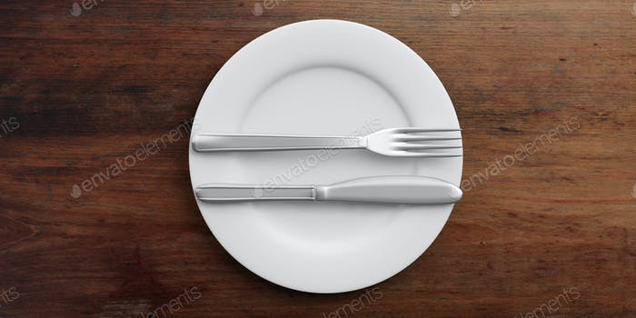 Place Setting, excellent signal, on wooden background. 3d illustration