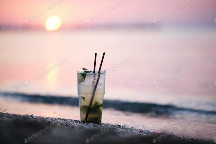 Mojito cocktail at the seashore