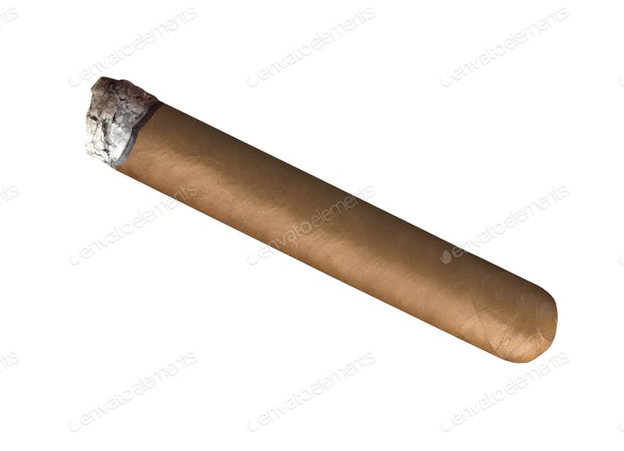 Smoking havana cigar isolated