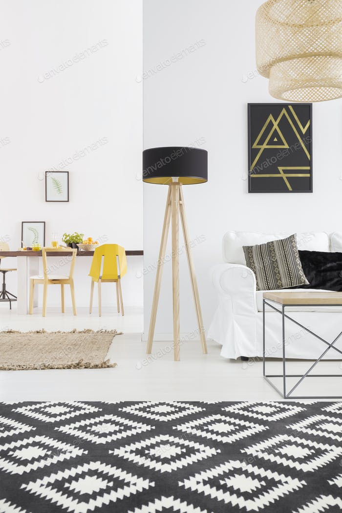 White apartment with black lamp