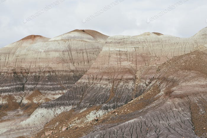The coloured strata of the Painted Desert rock formations in the Petrified Forest National Park