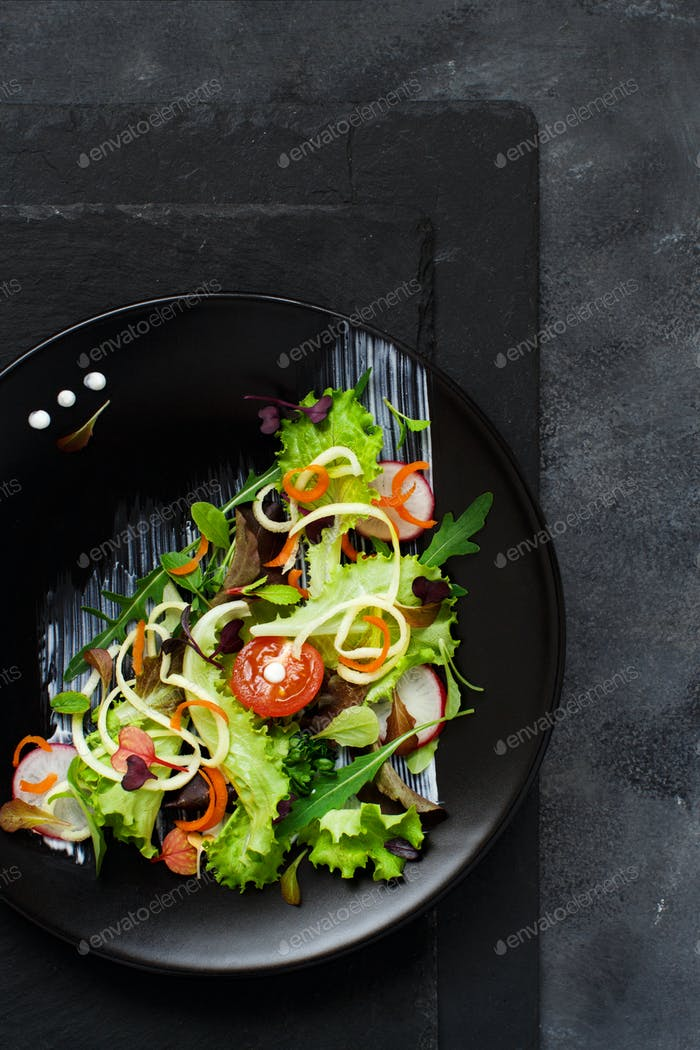 Green salad with microgreens