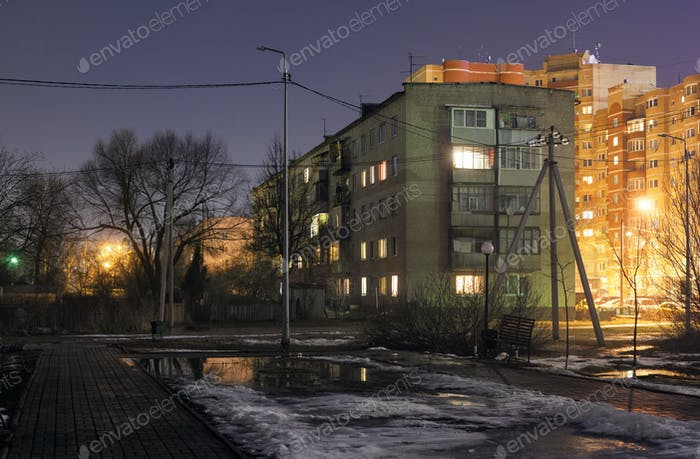 The old Soviet typical five story residential building