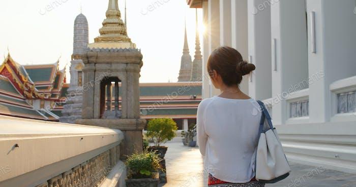 Woman visit Thailand grand palace