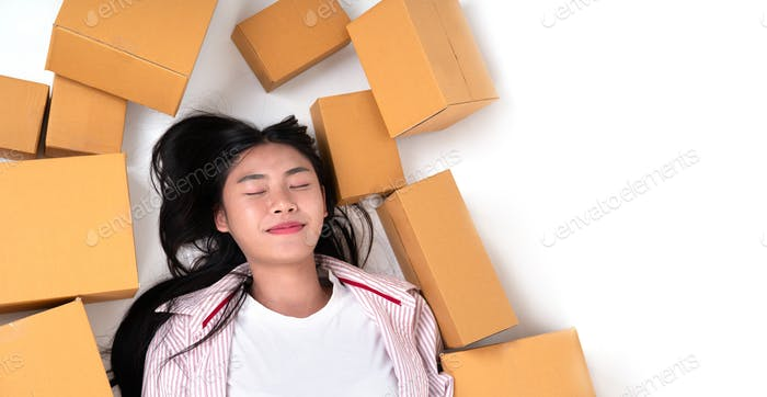 happy woman with parcel box