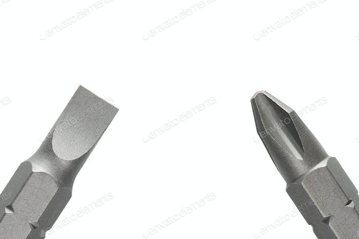 Schraubendreher-Bits auf weiß