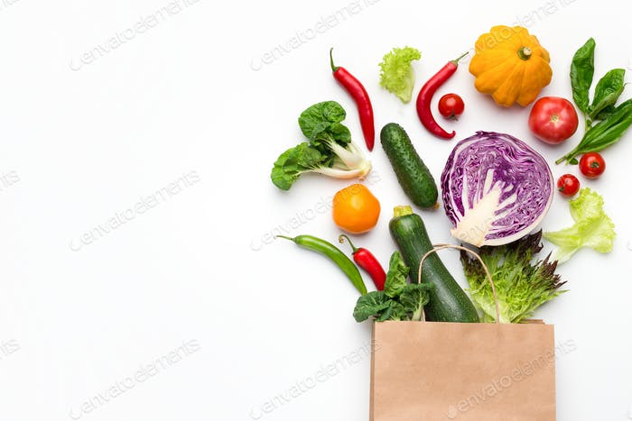 Eco friendly shopping bag with organic vegetables