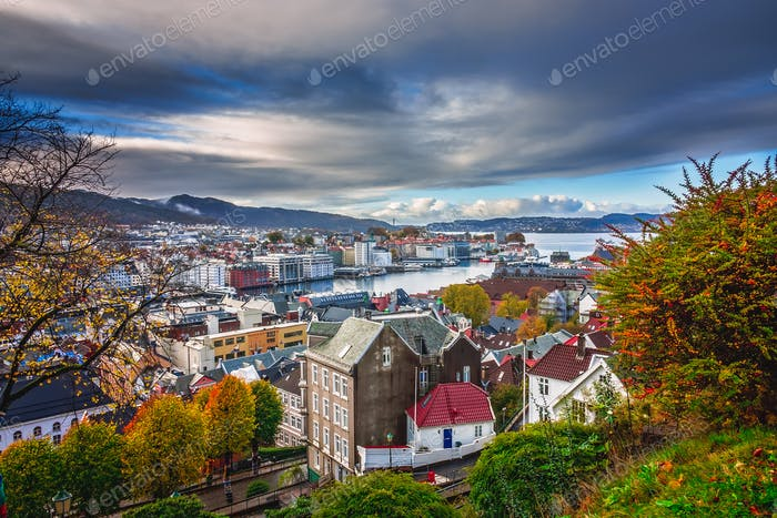 View of the beautiful Bergen bay in autumn