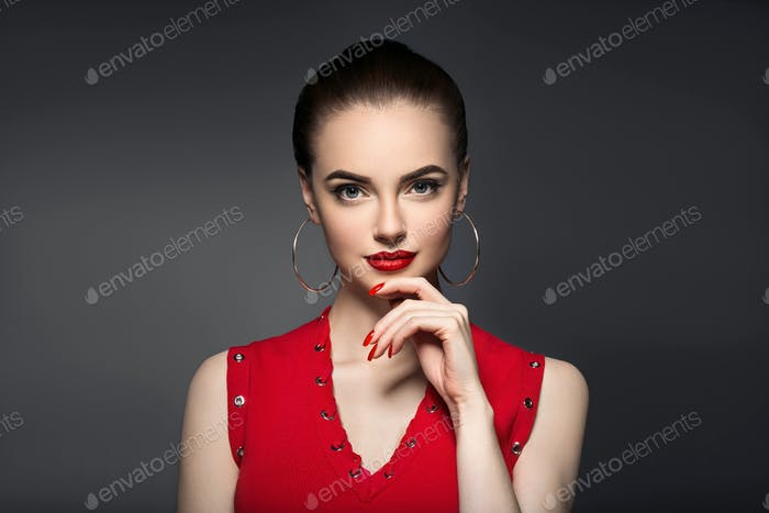 Thumbnail for Beautiful curle hair female in red with red lips and dress manicure, beauty red afro hairstyle