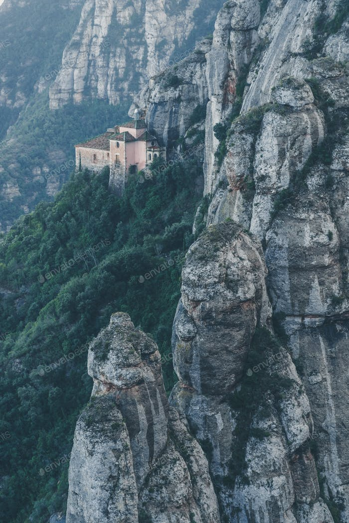 Montserrat Mountains and Church