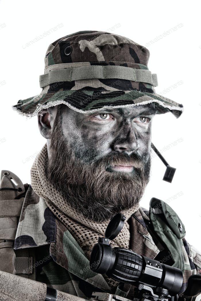 Commando soldier isolated shoulder studio portrait