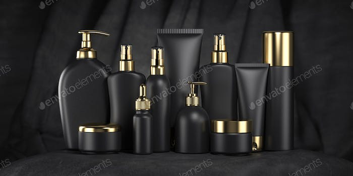 Luxury cosmetic products in black and gold package, tubes and bottles on black velvet background.