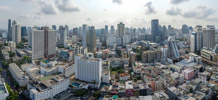 Bangkok City Panorama, Nana und Sukhumvit Road Luftaufnahmen