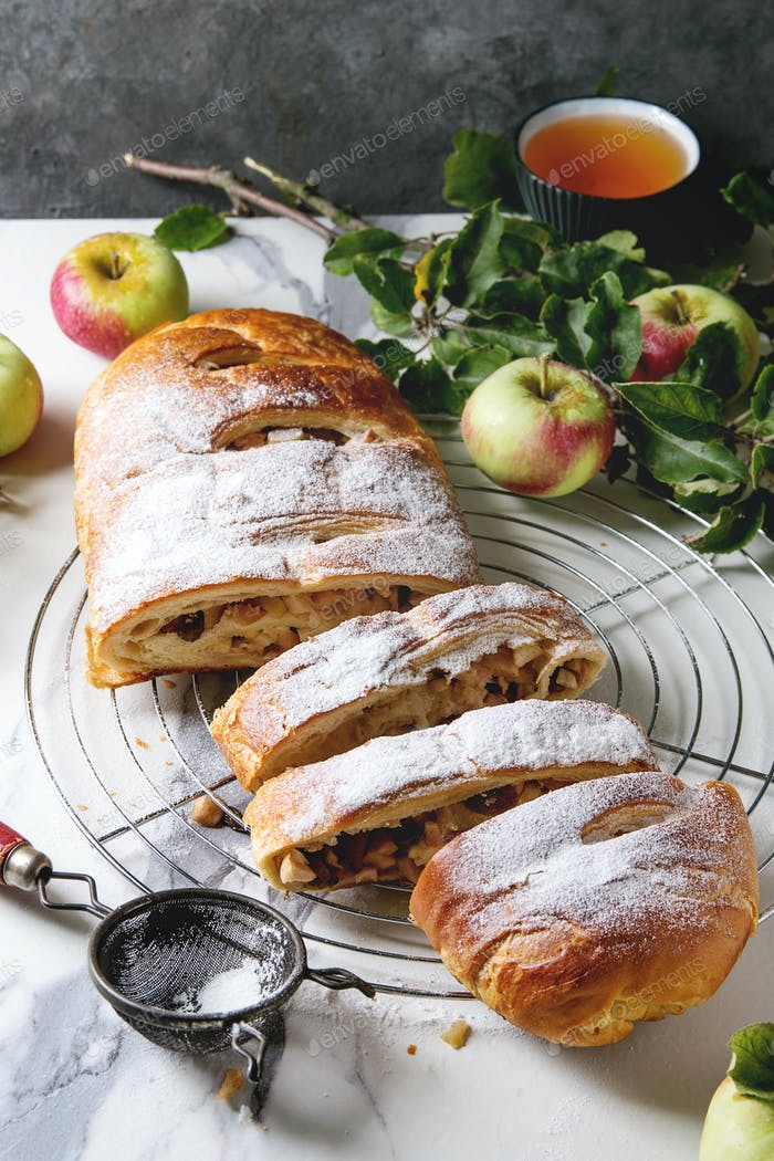 Homemade apple strudel