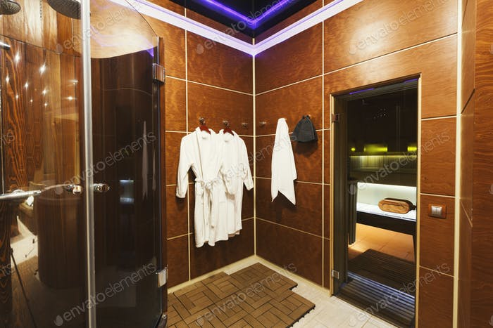 Luxury dressing room in sauna interior