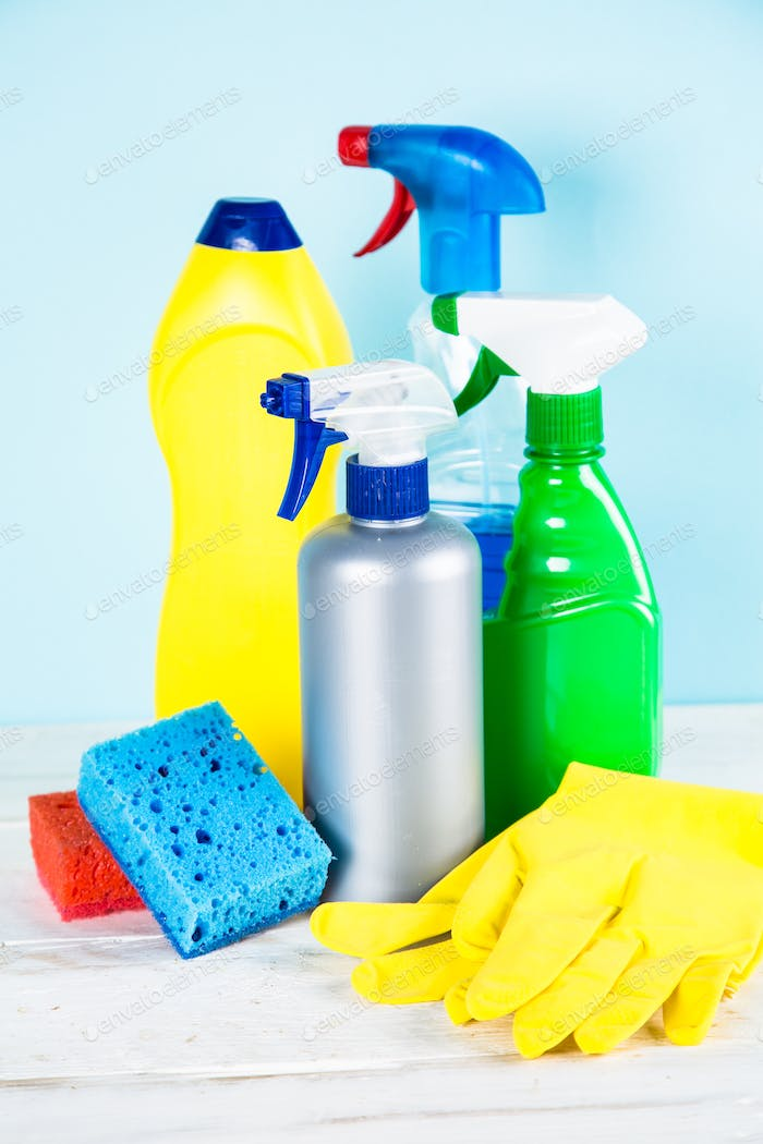 Cleaning product, household on blue background