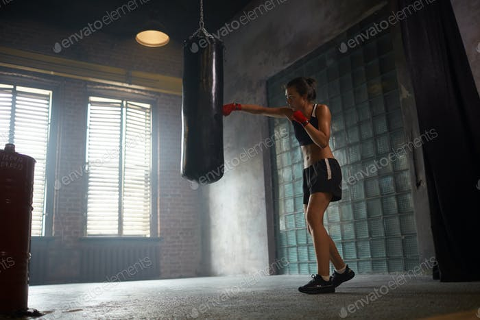 Tough female Boxer Training